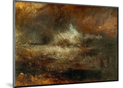 Stormy Sea with Blazing Wreck-J^ M^ W^ Turner-Mounted Giclee Print