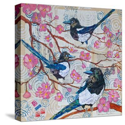 Magpies And Pink Blossoms--Stretched Canvas Print