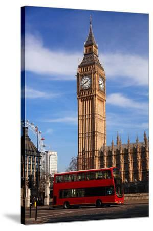 Big Ben City Bus In London Uk--Stretched Canvas Print