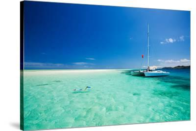 Tropical Sea off Catamaran--Stretched Canvas Print