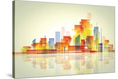 Watercolour City Landscape--Stretched Canvas Print