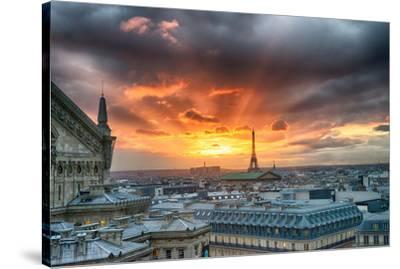 Paris City Scene At Sunset--Stretched Canvas Print