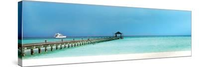 Seascape Panoramic with Bridge--Stretched Canvas Print