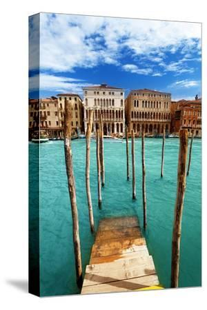 Grand Canal Pier Venice Italy--Stretched Canvas Print