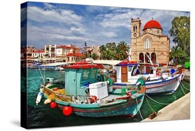 Idyllic Greek Island Aegina--Stretched Canvas Print