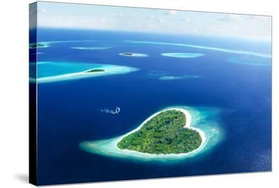 Maldivian Heart Shape Island--Stretched Canvas Print
