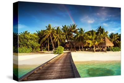 Beach Pier on Island Resort--Stretched Canvas Print