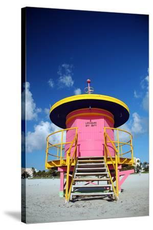 Lifeguard Tower in South Beach--Stretched Canvas Print
