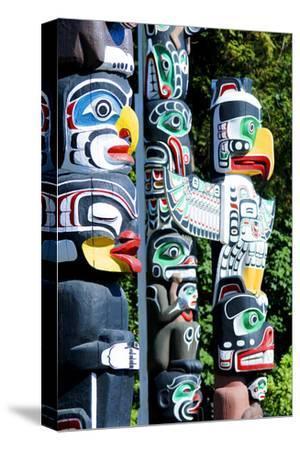 Stanley Park Totem Poles--Stretched Canvas Print