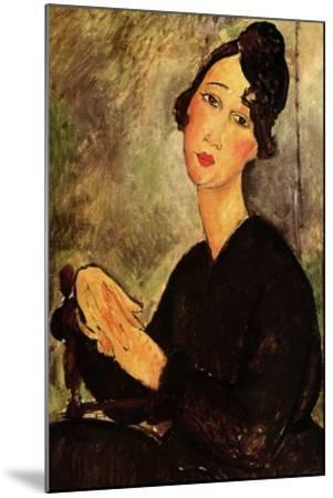 Seated woman with black dress-Amedeo Modigliani-Mounted Art Print