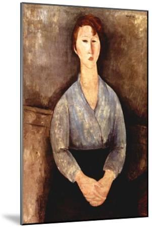 Seated woman with grey blouse-Amedeo Modigliani-Mounted Art Print