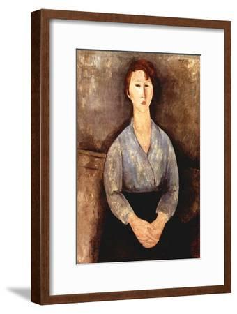 Seated woman with grey blouse-Amedeo Modigliani-Framed Art Print