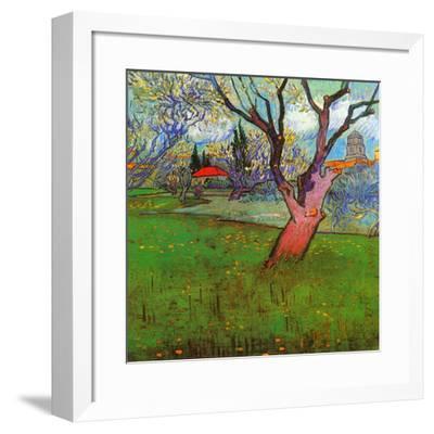 Vue d'Arles avec arbres en fleurs (Détail)-Vincent van Gogh-Framed Art Print