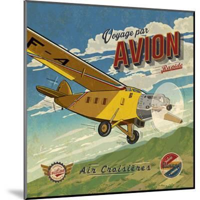 Voyage par avion-Bruno Pozzo-Mounted Art Print