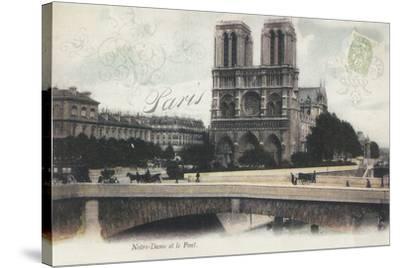 Notre-Dame et le Pont-Stephanie Monahan-Stretched Canvas Print