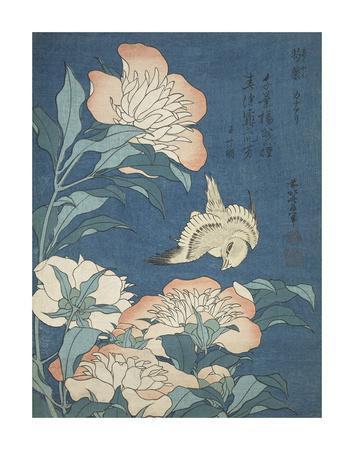 Peonies and Canary-Katsushika Hokusai-Framed Art Print