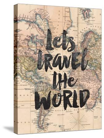 Lets Travel The World BW-Brett Wilson-Stretched Canvas Print