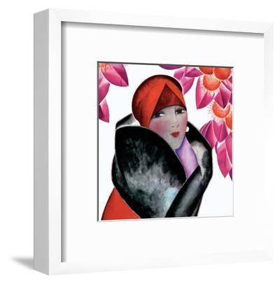 Art Deco Woman with Red Hat and Furs-Helen Dryden-Framed Art Print