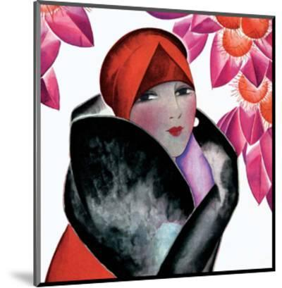 Art Deco Woman with Red Hat and Furs-Helen Dryden-Mounted Art Print