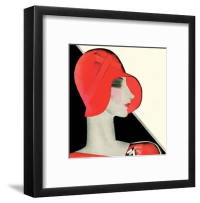 Art Deco Woman with Red Hat-Helen Dryden-Framed Art Print