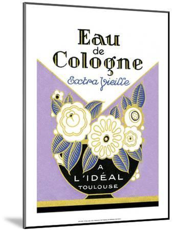 Vintage Art Deco Label, Eau de Cologne--Mounted Art Print