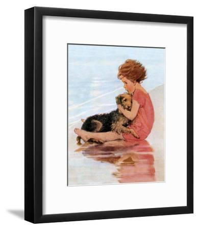 Don't Be Scared, Dog on the Beach Art Print by Jessie Willcox Smith    Art com