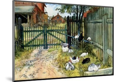 Chickens in the Yard, 1904-Carl Larsson-Mounted Art Print