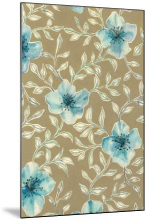Gilded Blue Flowers I-Grace Popp-Mounted Art Print