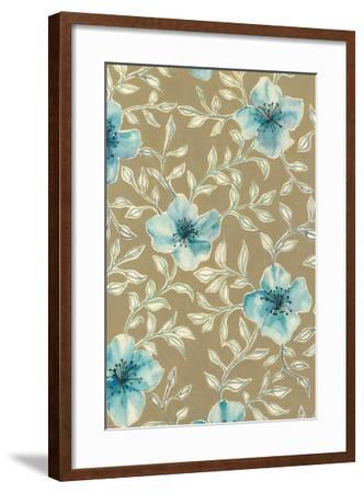 Gilded Blue Flowers I-Grace Popp-Framed Art Print