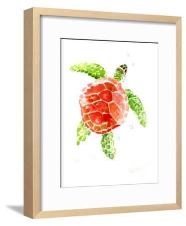 Sea Turtle Red-Green-Suren Nersisyan-Framed Art Print
