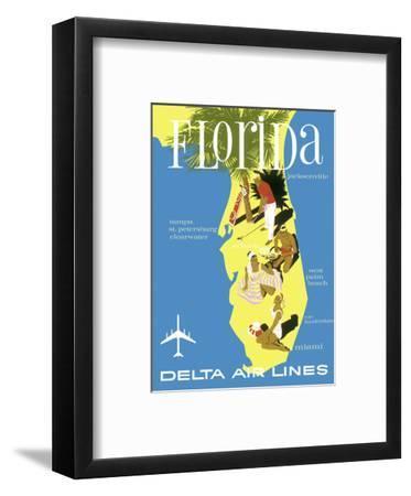 Florida - Golf - Scuba Diving - Sunbathing - Delta Air Lines--Framed Art Print