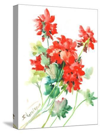 Geranium Red-Suren Nersisyan-Stretched Canvas Print