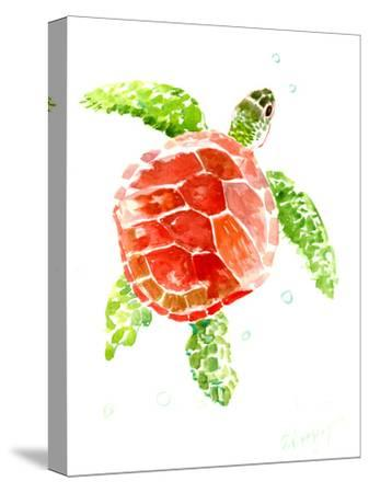 Sea Turtle Red-Green-Suren Nersisyan-Stretched Canvas Print
