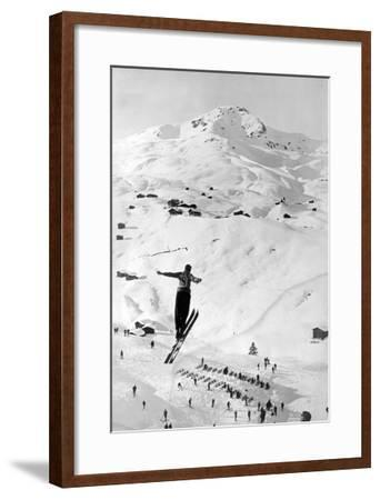 Skier large Jump-Underwood-Framed Giclee Print