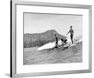 Girl with Surfboard-Underwood-Framed Giclee Print