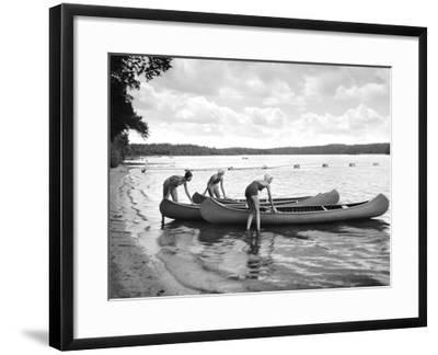 Canoers on Lake-Underwood-Framed Giclee Print