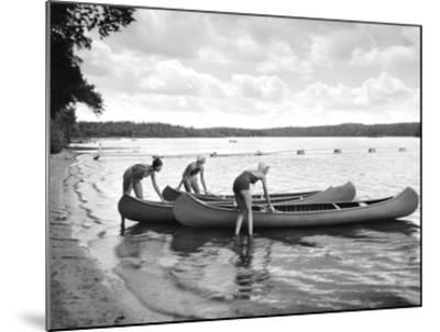 Canoers on Lake-Underwood-Mounted Giclee Print