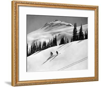 Skiing Beauty on Slopes-Underwood-Framed Giclee Print