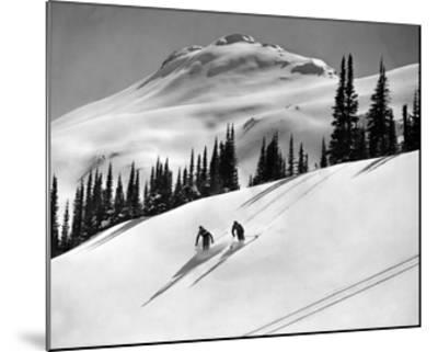 Skiing Beauty on Slopes-Underwood-Mounted Giclee Print