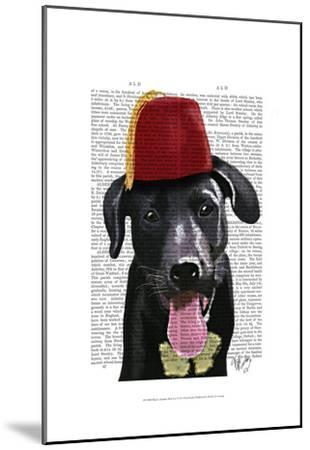 Black Labrador With Fez-Fab Funky-Mounted Art Print