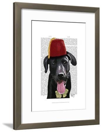 Black Labrador With Fez-Fab Funky-Framed Art Print