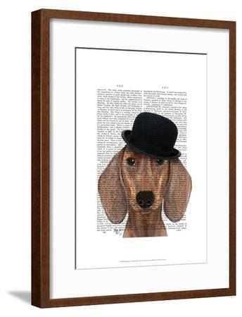 Dachshund with Black Bowler Hat-Fab Funky-Framed Art Print