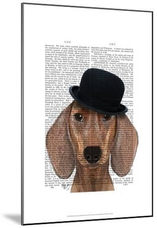 Dachshund with Black Bowler Hat-Fab Funky-Mounted Art Print