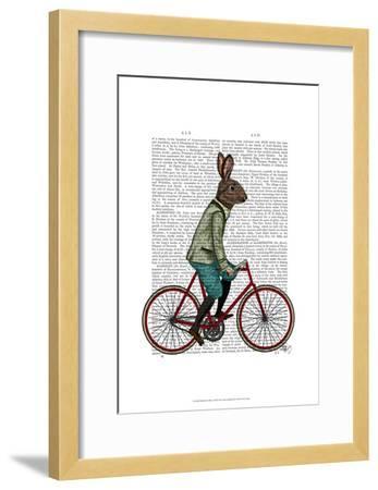 Rabbit On Bike-Fab Funky-Framed Art Print