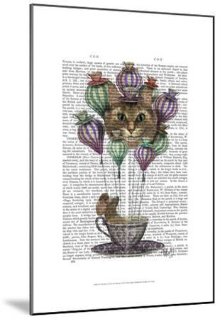 Cheshire Cat Hot Air Balloon-Fab Funky-Mounted Art Print