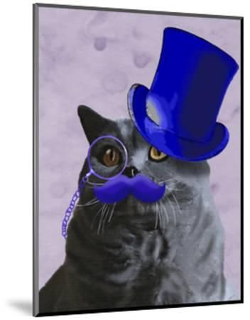 Grey Cat With Blue Top Hat and Moustache-Fab Funky-Mounted Art Print