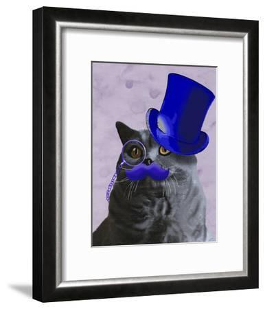 Grey Cat With Blue Top Hat and Moustache-Fab Funky-Framed Art Print