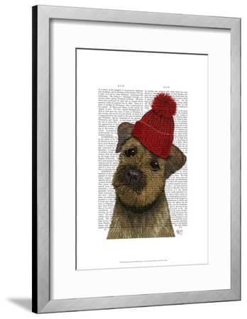 Border Terrier with Red Bobble Hat-Fab Funky-Framed Art Print