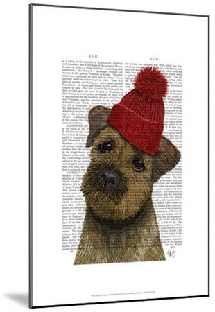 Border Terrier with Red Bobble Hat-Fab Funky-Mounted Art Print