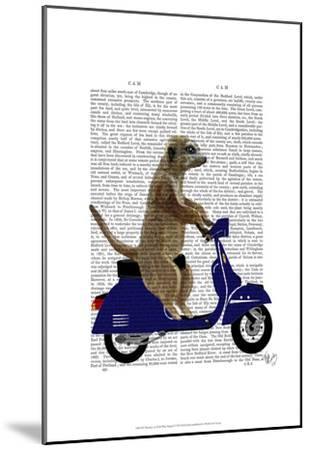 Meerkat on Dark Blue Moped-Fab Funky-Mounted Art Print